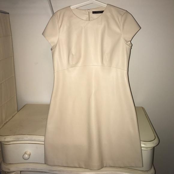 Zara Dresses London Cream Leather Dress Nwot Poshmark